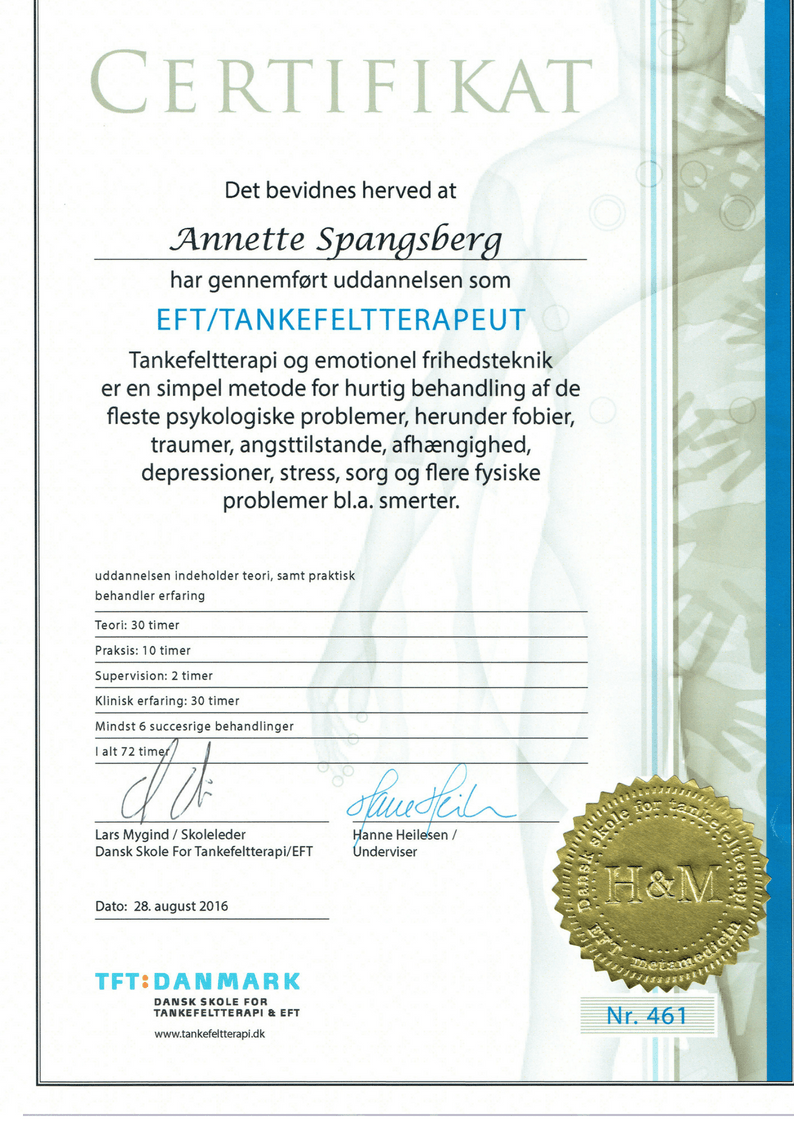 Certifikat Tankefeltterapi - terapi mod fobier, angst og chok