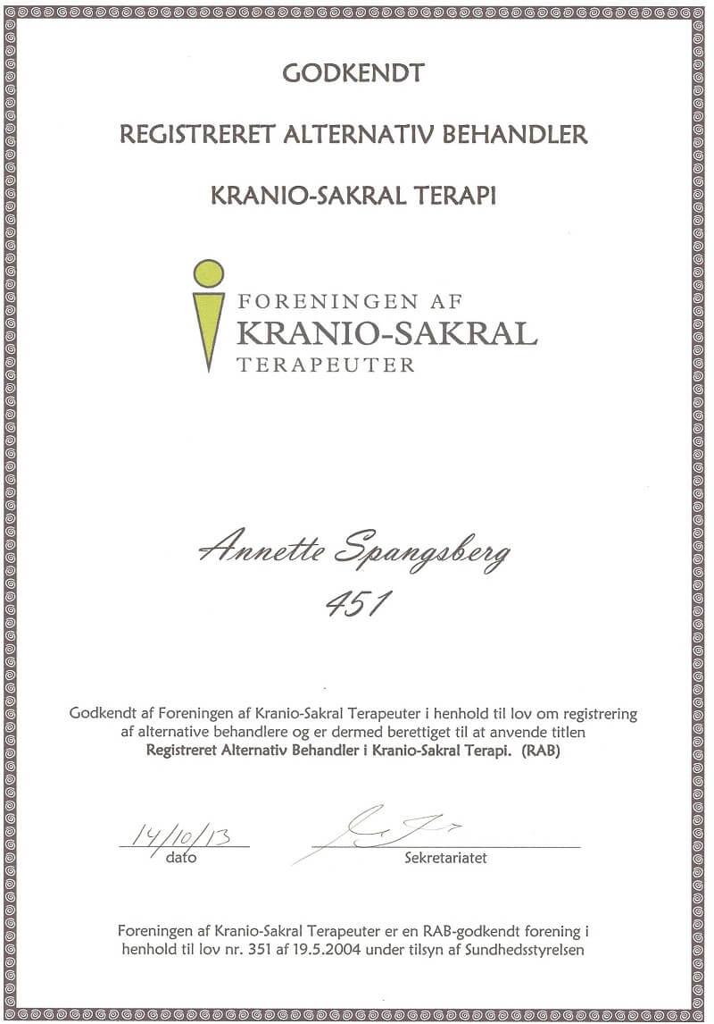 RAB-godkendt kranio-sakral-terapeut Annette Spangsberg