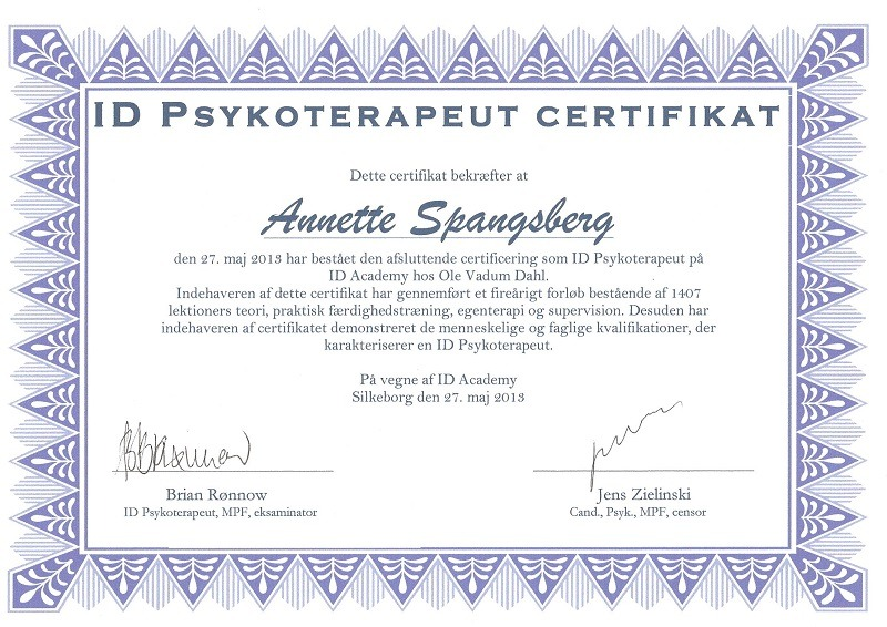 Certificeret ID-Psykoterapeut Annette Spangsberg